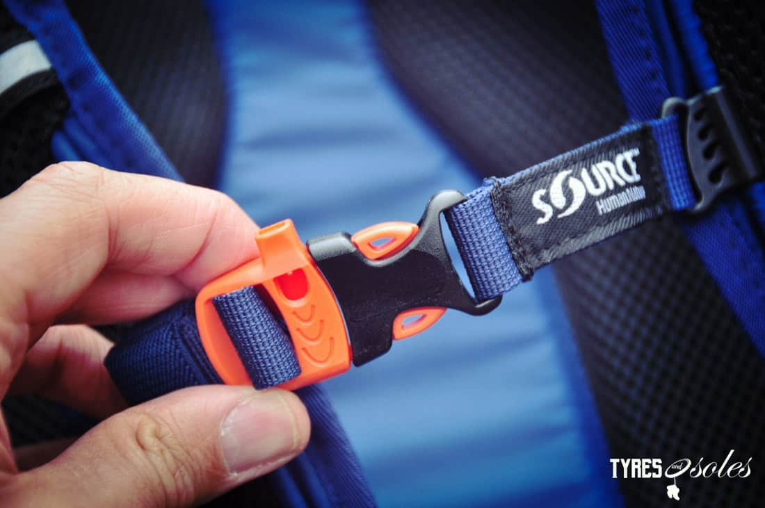 Integrated chest strap whistle. Pic©Tyres and Soles