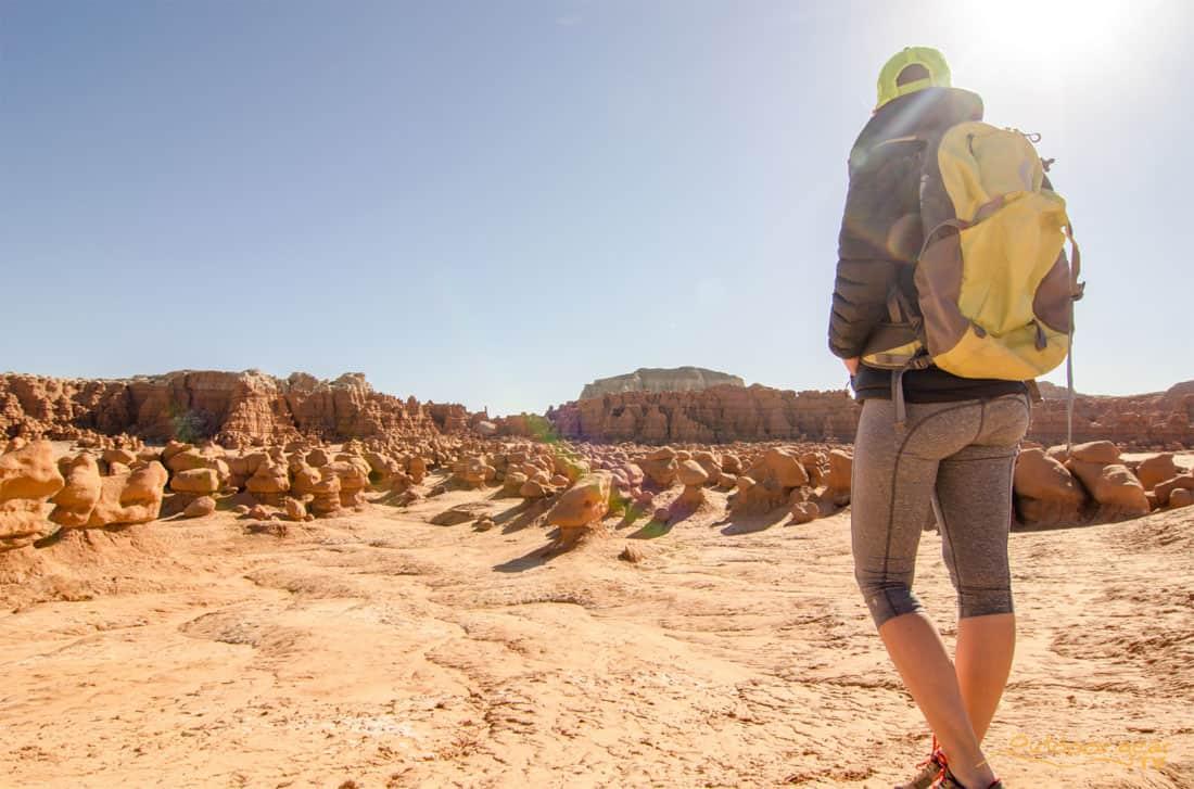 woman hiking desert