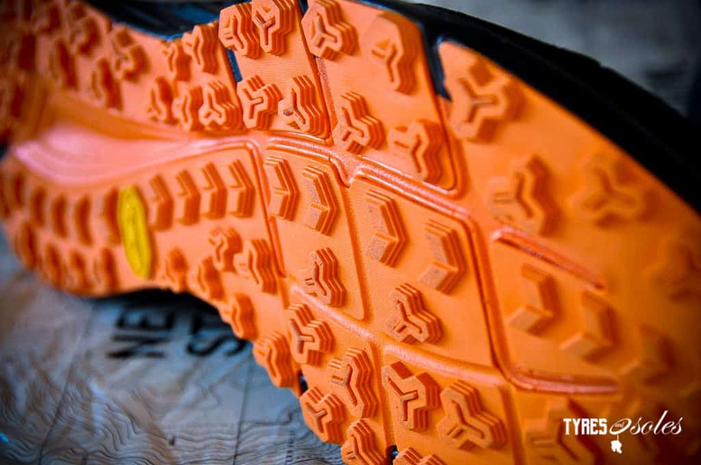 A Vibram sole with an aggressive tread pattern.