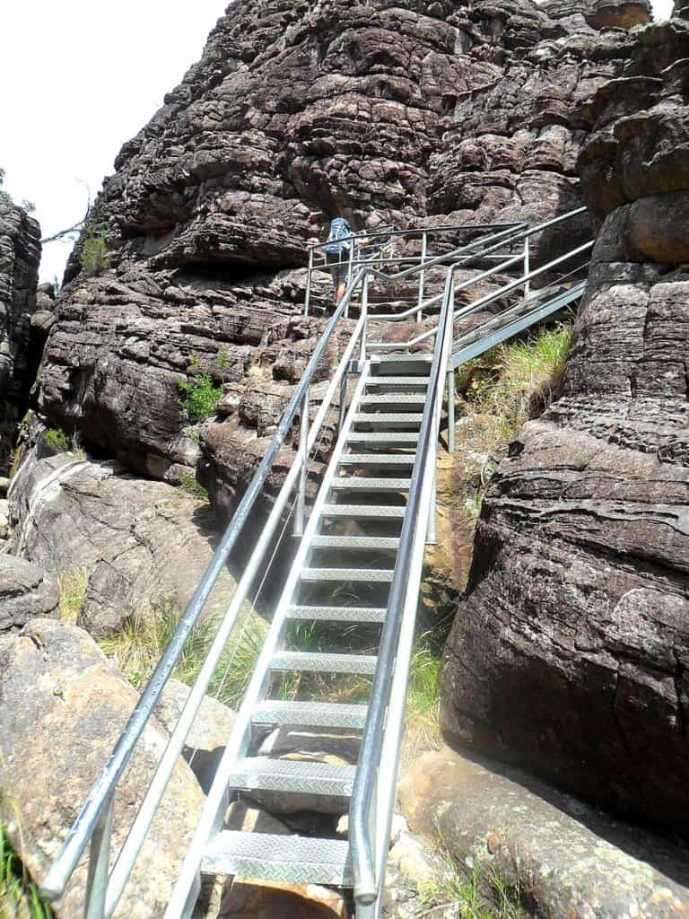 The staircase coming out of the Grand Canyon.