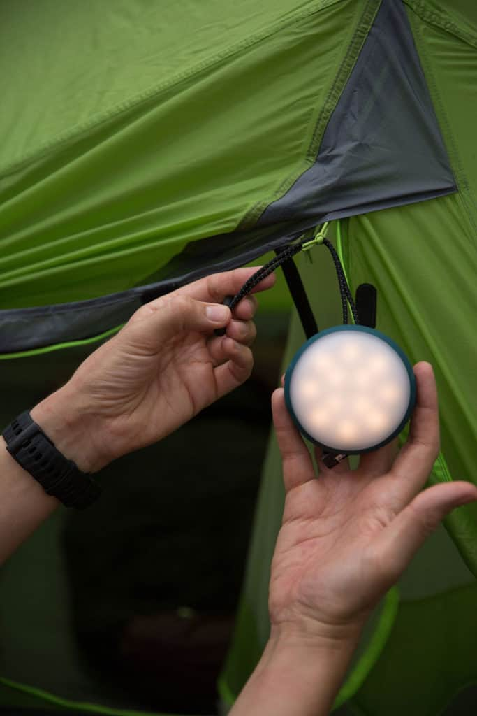 Light and small enough to hang on the tent. Photo: ©Richard McGibbon