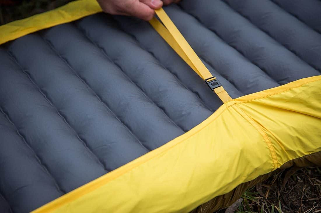 The bottom sheet section ties securely around your sleeping pad. Photo:©Richard McGibbon