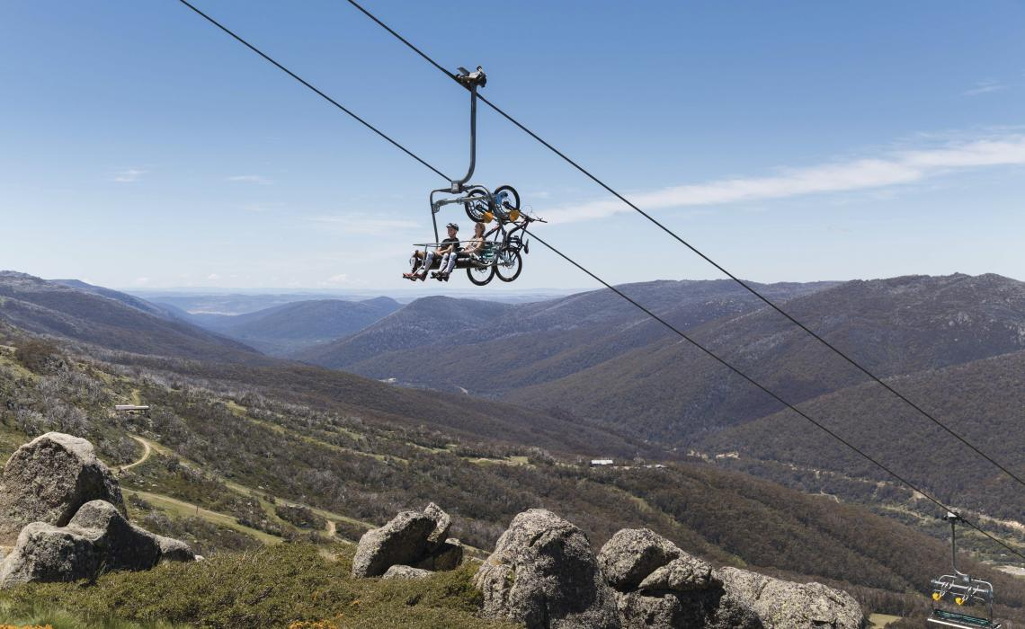 THe sceneic chairlift is used by hikers and mountain bikers in the warmer seasons. Photo: ©Snowy Mountains Tourism