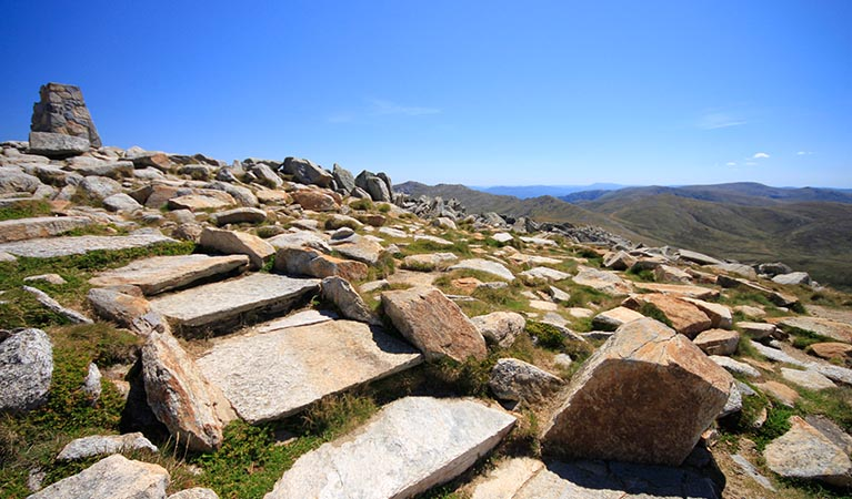 360 degree views and mountain fresh air from the summit of Mount Kosciuszko. Photo: ©Elinor Sheargold